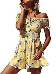 cheap -kavitoz clearance, off shoulder dress, new womens floral print mini playsuits summer holiday beach shorts sundress jumpsuit (yellow, m)
