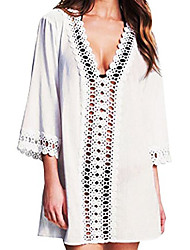 cheap -women's solid plus size beach cover up for women bikini (cop004-w1) white