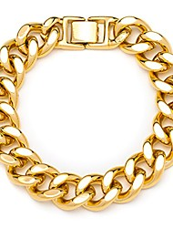 cheap -lifetime jewelry 15mm cuban link chain bracelet for men & women 24k gold plated, 9 inches