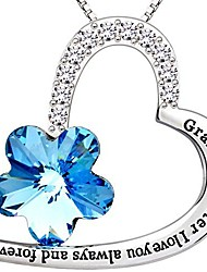 """cheap -jewelry silver""""granddaughter i love you always and forever"""" love heart blue crystal cubic zirconia pendant necklace"""