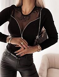 cheap -Women's Plus Size Tops T shirt Patchwork Plain Large Size Round Neck Long Sleeve Big Size