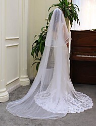 cheap -One-tier Elegant & Luxurious Wedding Veil Chapel Veils with Solid Tulle