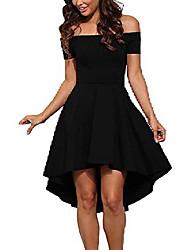 cheap -ladies dress evening dress strapless cocktail dress jersey dress skater dress knee length elegant festive asymmetrical party dress black 44 (xxl)