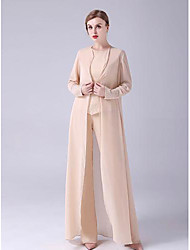 cheap -Two Piece Pantsuit / Jumpsuit Mother of the Bride Dress Elegant Jewel Neck Floor Length Chiffon Sleeveless with Beading 2021