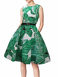 cheap -elegant women print sleeveless big dress print party evening prom swing dress st. patrick's day dress (green,uk-10/cn-l)