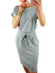 cheap -women's elegant casual office dress short/long sleeve wear to work belted dress with pockets - gray - s
