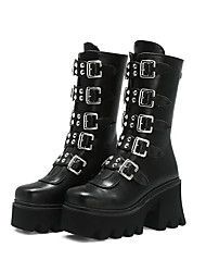 cheap -Women's Boots Chunky Heel Round Toe Mid Calf Boots Punk & Gothic Daily Walking Shoes PU Rivet Buckle Lace-up Solid Colored Black / Mid-Calf Boots
