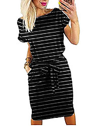 cheap -women's elegant short sleeve wear to work casual pencil dress with belt ¡ - - small