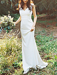cheap -Sheath / Column Wedding Dresses V Neck Sweep / Brush Train Satin Sleeveless Simple Beach with Ruched 2021