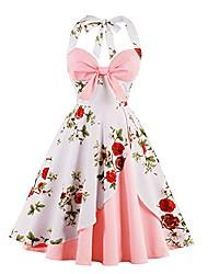 cheap -women vintage halter v-neck printing dress rockabilly cocktail -50s beautiful fashion party elegance hepburn style evening swing dress (4xl / uk 20, pink 1)