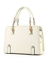 cheap -fashion womens pu leather bags handbag shoulder bag and top-handle bags messenger tote bag with gold chain handle (white)