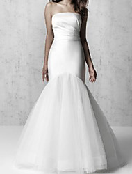 cheap -Mermaid / Trumpet Wedding Dresses Strapless Floor Length Tulle Italy Satin Sleeveless Simple with Ruched 2021
