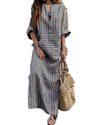 cheap -women's striped maxi t-shirt dress long sleeve loose gown with pocket (color : grey, size : small)