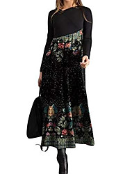 cheap -Women's Swing Dress Maxi long Dress Golden Yellow Gray White Black Red Long Sleeve Solid Color Fall Spring 2021 S M L XL XXL XXXL