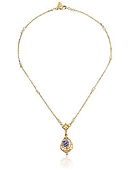 cheap -14k gold-dipped vintage-inspired porcelain rose with lavender crystal accent necklace, 17""