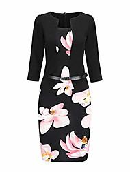 cheap -women's vintage dress, ladies office work formal bodycon sheath pencil dresses with belt black