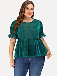 cheap -Women's Plus Size Tops Blouse Shirt Plain Large Size Round Neck Short Sleeve Big Size