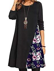 cheap -women's long sleeve floral print casual patchwork t-shirt autumn winter dress size 16 18 l blue-2