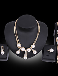 cheap -Women's Jewelry Set Bridal Jewelry Sets 3D Precious Fashion Imitation Pearl Gold Plated Earrings Jewelry Gold For Christmas Wedding Halloween Party Evening Gift 1 set