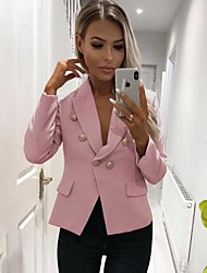 cheap -Women's Double Breasted Peaked Lapel Blazer Solid Colored White / Black / Blue S / M / L