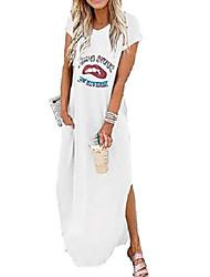 cheap -Women's A Line Dress Maxi long Dress Blue khaki Green White Black Short Sleeve Pattern Summer Casual 2021 S M L XL