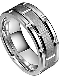 cheap -8mm mens white tungsten carbide ring brick pattern brushed center alternative grooves wedding band comfort fit high polished(11)