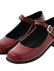 cheap -women's mary jane ankle strap flat patent leather lolita pumps us 4, wine red