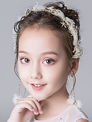 cheap -Fashion Sweet Pearl / Acrylic / Fabrics Headpiece with Acrylic Diamond / Faux Pearl / Flower 1 set Wedding / Birthday Headpiece
