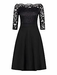 cheap -⭐women's off the shoulder black dress cocktail 3/4 sleeve dress a line swing dress