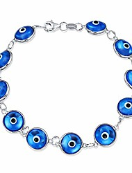 cheap -turkish multi translucent blue evil eye glass bead bracelet for women for protection and good luck silver