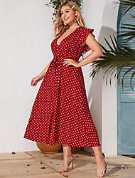 cheap -Women's Plus Size Floral Print Sexy Short Sleeve Spring & Summer Midi Dress A Line Dress