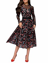 cheap -dress women's sunday women's casual embroidery long sleeve bodycon bodycon elegant party long plus size evening cocktail dresses prom ball gown black