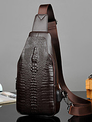 cheap -men pu leather crocodile printed fashion crossbody bag chest bag
