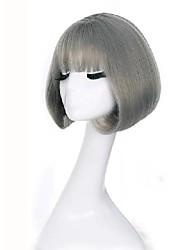 cheap -synthetic short bob wigs for women natural hair brown black rattan linen grey wig with korean air bangs 12inch