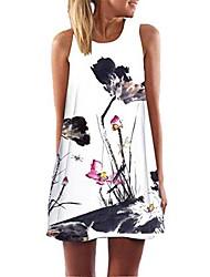 cheap -longra ladies beachwear beach dresses summer dress short mini dress in ethnic style ladies beach fashion tunic dress casual dress a lines sleeveless retro floral prints short dresses (white 45, l)