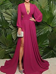 cheap -A-Line Minimalist Elegant Wedding Guest Formal Evening Dress V Neck Long Sleeve Sweep / Brush Train Chiffon with Pleats Split 2021