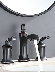 cheap -bathroom sink faucet - widespread deck mounted orb antique basin faucet two handles three holes bath vanity vessel sink 3 pcs taps for washroom