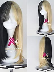 cheap -Synthetic Wig Cosplay Wig Straight Middle Part With Bangs Wig Medium Length Black / Gold Synthetic Hair 22 inch Women's Fashionable Design Cosplay Soft Blonde
