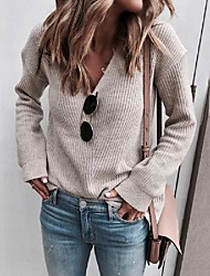 cheap -Women's Pullover Sweater Stylish Knitted Solid Color Casual Fashion Long Sleeve Sweater Cardigans V Neck Fall Winter Spring Shallow Khaki Blue Blushing Pink
