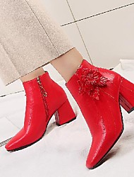 cheap -Women's Boots Block Heel Square Toe Booties Ankle Boots Chinoiserie Minimalism Wedding Party & Evening PU Flower Solid Colored Winter Light Red Green White / Booties / Ankle Boots