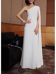 cheap -Sheath / Column Wedding Dresses One Shoulder Floor Length Chiffon Sleeveless Simple with Draping 2021