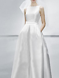 cheap -A-Line Wedding Dresses Jewel Neck Sweep / Brush Train Satin Sleeveless Simple Elegant with 2021