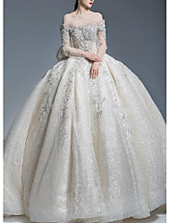 cheap -Princess Ball Gown Wedding Dresses Off Shoulder Watteau Train Lace Tulle Sequined Long Sleeve Formal Romantic Luxurious Sparkle & Shine with Pleats Beading 2021