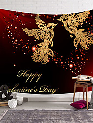 cheap -Valentine's Day Wall Tapestry Art Decor Blanket Curtain Hanging Home Bedroom Living Room Decoration Heart Bird