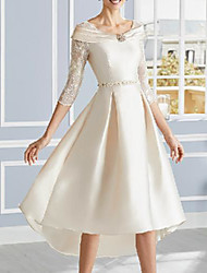 cheap -A-Line Mother of the Bride Dress Elegant V Neck Asymmetrical Lace Satin Half Sleeve with Appliques 2021
