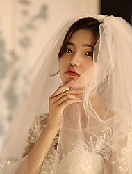 cheap -Three-tier Cute Wedding Veil Elbow Veils with Solid Tulle