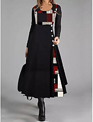 cheap -Women's Sheath Dress Midi Dress - Long Sleeve Color Block Button Print Spring Winter Work Elegant 2020 Black M L XL XXL 3XL