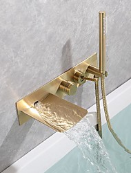 cheap -Brass Bathtub Faucet,Brushed Gold/Black Wall Installation Waterfall Included Handshower of Spray Type Bath Shower Mixer Taps with Hot and Cold Water