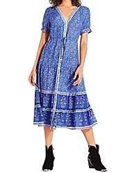 cheap -ulanda-eu womens bohemia summer dresses ladies fashion short sleeve floral printed sexy beach holiday party long midi dress blue
