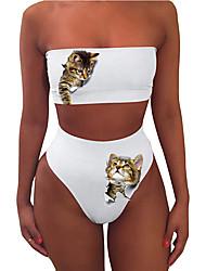 cheap -Women's New Sexy Sweet Tankini Swimsuit Animal Slim Print Bandeau Normal Strapless Swimwear Bathing Suits White / 2 Piece
